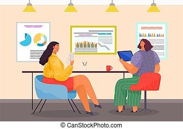 オフィス, 現代, 装置, 分析的, 女性, ミーティング, データ, 広告板, 共同経営者