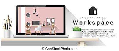 オフィス, 現代, 2, デザイン, 仕事場, 内部