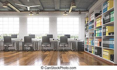 オフィス, 現代, interior., イラスト, 3d