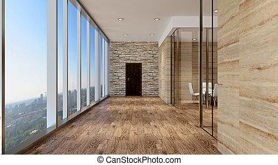 オフィス, 現代, rendering., 内部, highlands., 3d