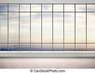 オフィス, 窓, イラスト, 大きい, 空, 3D
