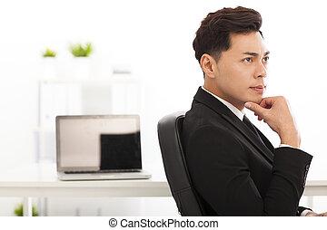 オフィス, 考え, 人, ビジネス, 若い