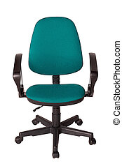 オフィス, 肘掛け椅子, 隔離された, バックグラウンド。, 緑の白