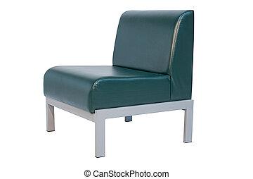 オフィス, 肘掛け椅子, 隔離された, 緑の背景, 白