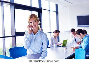 オフィス, 背景, 彼女, 女, スタッフ, ビジネス