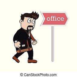 オフィス, 行きなさい, 急ぎ, ビジネスマン, いつか