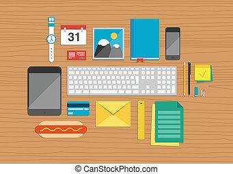 オフィス, 要素, 上に, デスクトップ, イラスト