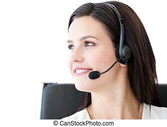 オフィス, 話, 確信した, 顧客, 女性実業家, 身に着けているヘッドホーン
