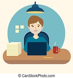 オフィス, 退屈すること, 仕事, イラスト, ベクトル, 漫画