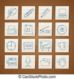 オフィス, 道具, アイコン