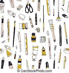 オフィス, 道具, スタイル, 文房具, 型, 創造性, seamless, 道具, バックグラウンド。, 引かれる, 白, 包むこと, イラスト, 手, 供給, wallpaper., ペーパー, 図画, 現実的, ベクトル, パターン, ∥あるいは∥