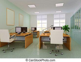 オフィス, 部屋, 現代, 3d