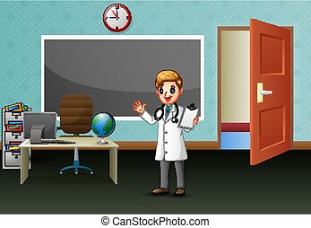 オフィス, 部屋, 男性の医者