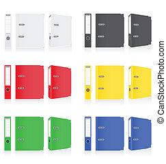 オフィス, 金属は鳴る, 色, イラスト, つなぎ, ベクトル, フォルダー