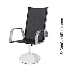 オフィス, 革, 隔離された, 黒, 椅子, 白