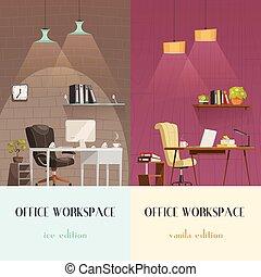オフィス, 2, 照明, 内部, 旗, 漫画