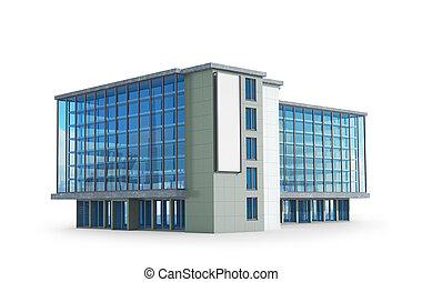 オフィス, 3d, イラスト, 光景, 側, 建物。