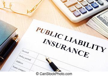 オフィス, desk., 保険証券, 責任, 公衆