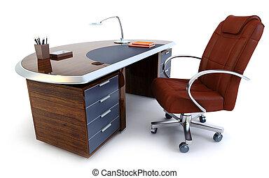 オフィス, director's, 3d, ren