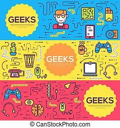 オフィス, geeks, 現代, それ, banners., flyear, デベロッパー, レイアウト, 技術, set., 雑誌, 本, テンプレート, イラスト, ポスター, 仕事場, カバー, パンフレット, 線, ページ, アウトライン, ベクトル, 薄くなりなさい, カード, 専門家