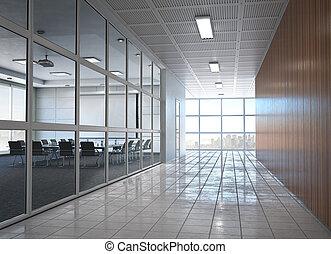 オフィス, interior., 廊下, イラスト, 3d