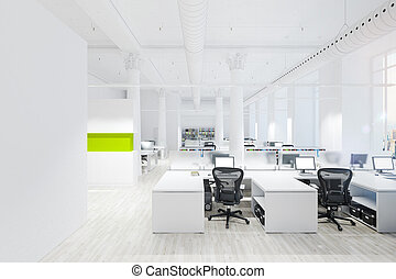 オフィス, render, スペース, 現代, 内部, 3d