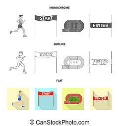 オブジェクト, シンボル, 勝者, web., 隔離された, コレクション, シンボル。, フィットネス, スポーツ, 株