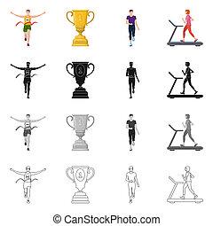 オブジェクト, シンボル, 勝者, web., 隔離された, コレクション, フィットネス, スポーツ, logo., 株