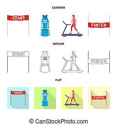 オブジェクト, シンボル, 勝者, web., 隔離された, シンボル。, セット, フィットネス, スポーツ, 株