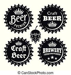 オブジェクト, テキスト, 帽子, ビール, ベクトル, 黒, 型