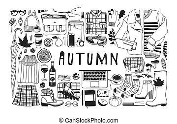 オブジェクト, ファッション, 芸術, work., drawing., 季節, 秋, doddle, イラスト, 手, 秋, バックグラウンド。, ベクトル, 芸術的, インク, 引かれる, pattern., 創造的