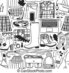 オブジェクト, ファッション, 芸術, work., drawing., 季節, 秋, doddle, seamless, イラスト, 手, 秋, バックグラウンド。, ベクトル, 芸術的, インク, 引かれる, pattern., 創造的