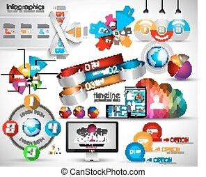 オブジェクト, 品質, コレクション, mega, infographics