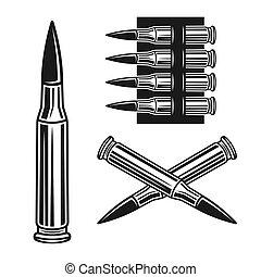 オブジェクト, 銃弾, ベクトル, bandolier, セット