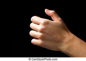 オブジェクト, 隔離された, 手, 黒, 保有物, 見えない