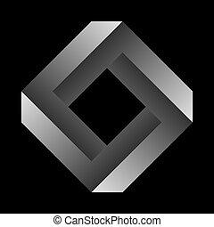 オブジェクト, 黒, バックグラウンド。, ∥あるいは∥, penrose, 不可能, 数字, undecidable, figure., 広場