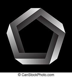 オブジェクト, 黒, バックグラウンド。, 国防総省, ∥あるいは∥, penrose, 不可能, 数字, undecidable, figure.
