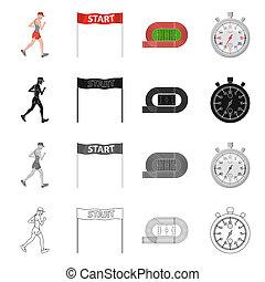 オブジェクト, illustration., 勝者, 隔離された, コレクション, ビットマップ, フィットネス, スポーツ, logo., 株