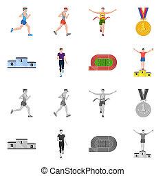 オブジェクト, stock., 勝者, 隔離された, コレクション, ビットマップ, フィットネス, スポーツ, logo., アイコン