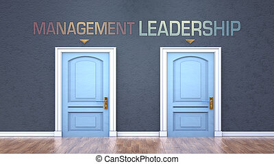 オプション, -, 言葉, 反対, 管理, 決定, イラスト, 描かれる, リーダーシップ, ドア, 作成, 管理, 間, 選択, ショー, 3d