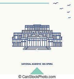 オペラ, 大きい, 国民, イラスト, スカイライン, ベクトル, academic;