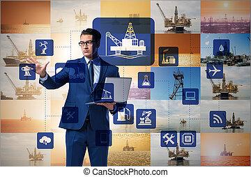 オペレーション, 概念, リモート, 企業の労働者, オイル