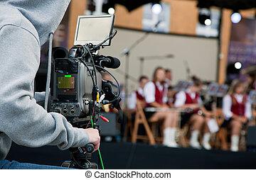オペレーター, カメラ, ビデオ, 仕事