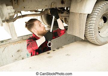 オペレーター, ガレージ, トラック, 修理