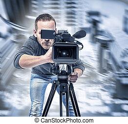オペレーター, レコード, video., ビデオ
