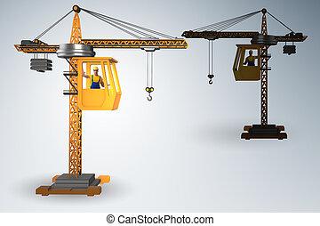 オペレーター, 作動させる, クレーン, 建設