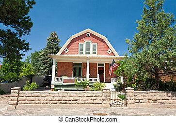 オランダの植民地, 横羽目板張り, 家, 家, サンタフェ, ニューメキシコ