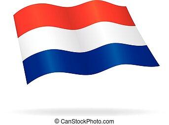 オランダ語, netherlands, ベクトル, 絹, オランダ, 旗, 飛行