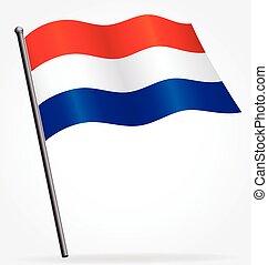 オランダ語, netherlands, ベクトル, flagpole, オランダ, 旗