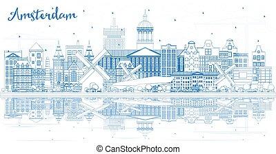 オランダ, アムステルダム, reflections., 建物, スカイライン, 都市, アウトライン, 青